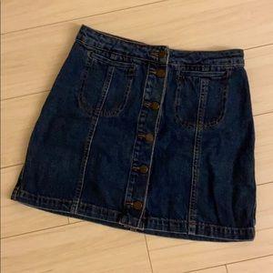 Topshop Jean Buttoned Skirt